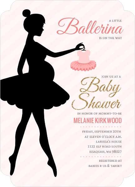 434x600 Ballerina Silhouette Baby Shower Invitation Ballerina Baby