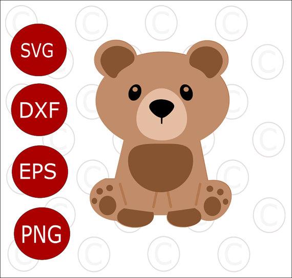 570x544 Baby Bear Svg Cut File, Cute Baby Woodland Animal Svgs, Cut Files