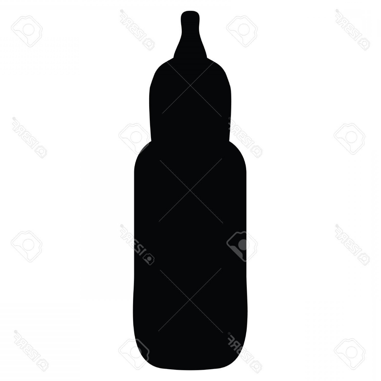 1560x1560 Photostock Vector A Black And White Silhouette Of A Baby Bottle