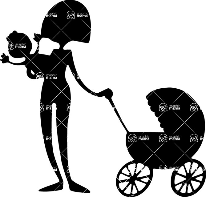669x640 Mom With Baby Stroller Vector Silhouette Graphicmama Graphicmama