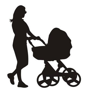 306x330 Mother And Baby Stroller Silhouette 2 Decal Sticker
