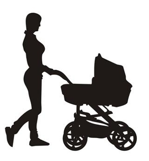 306x330 Mother And Baby Stroller Silhouette 3 Decal Sticker