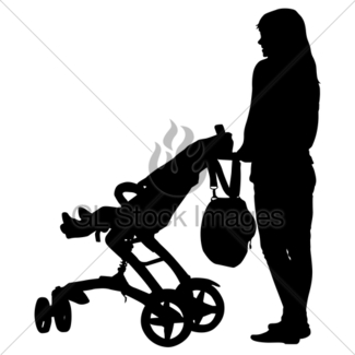 325x325 Silhouettes Walkings Mothers With Baby Strollers. Vector Gl