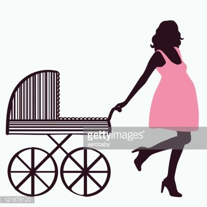 414x414 Woman Silhouette With Baby Premium Clipart