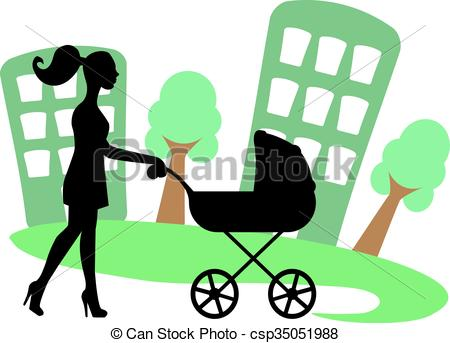 450x343 Silhouette Of A Woman With A Baby Carriage On The Background