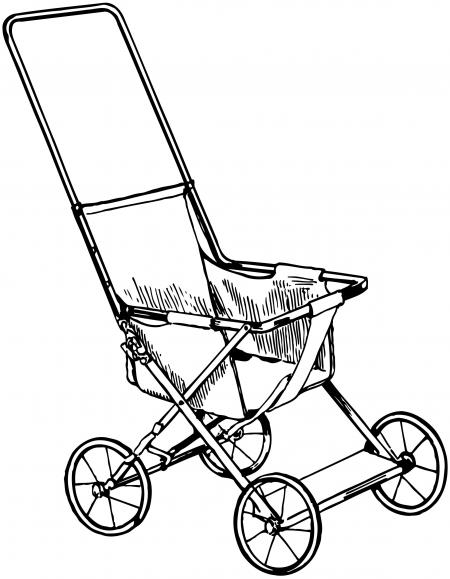 450x579 Vintage Baby Carriage Silhouette Clipart