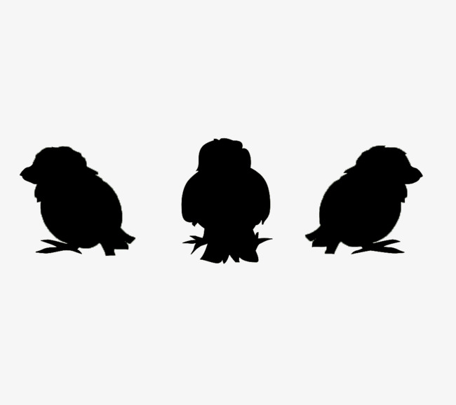650x578 Three Black Chicks Silhouette Material, Black, Chick, Sketch Png
