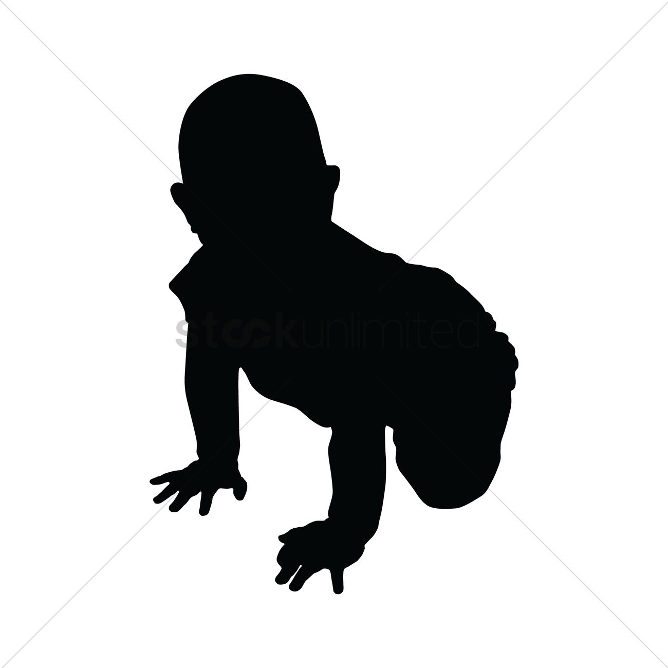1300x1300 Silhouette Of Baby Crawling Vector Image
