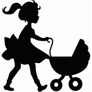 300x300 Little Girl With Doll Buggy Silhouette Design, Silhouettes And Dolls