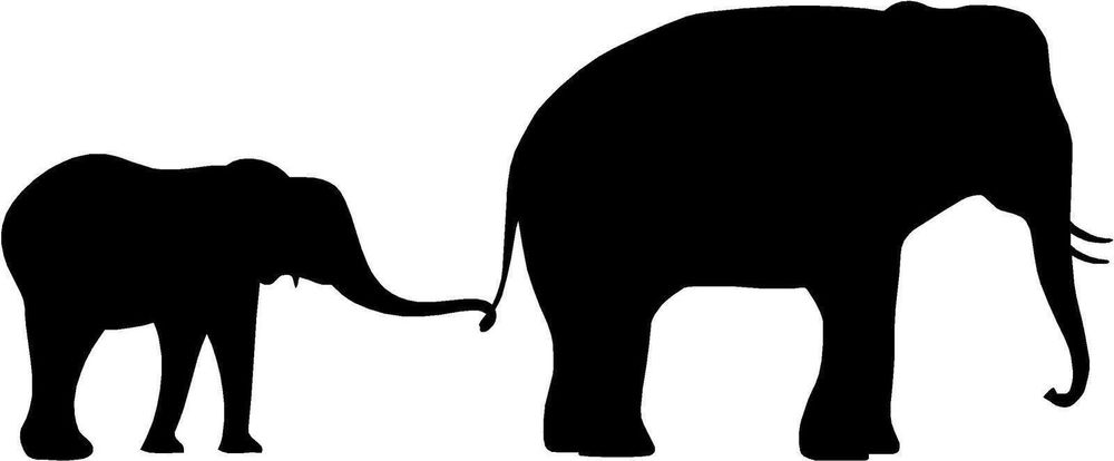 1000x414 Elephant Mother And Baby Silhouette Sticker Decal Graphic Vinyl