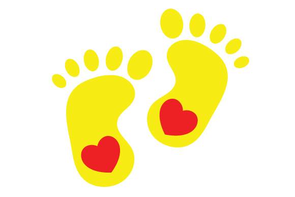 580x387 Yellow Baby Feet Silhouette Svg Cut File By Creative Fabrica