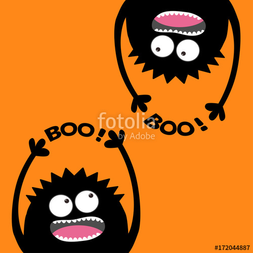 500x500 Two Screaming Monster Head Silhouette Set. Hands Holding Boo Text