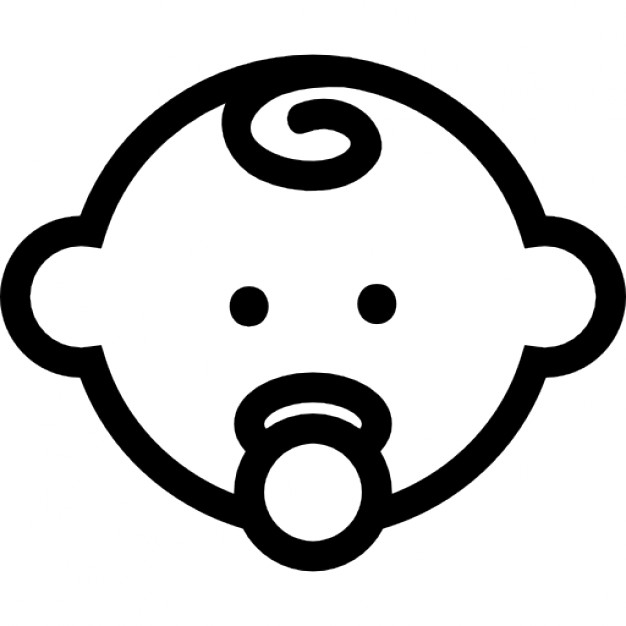 626x626 Baby Head Outline With Pacifier Icons Free Download