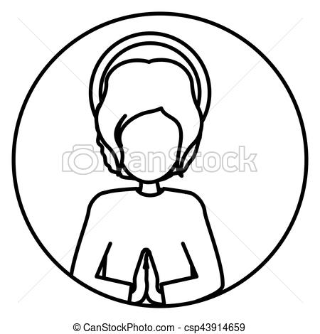 450x470 Circular Silhouette Half Body Baby Jesus Vector Illustration
