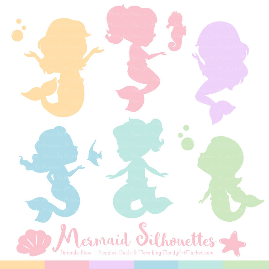 864x864 Professional Mermaid Silhouettes Clipart In Pastel Pastel