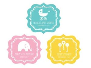 300x227 24 Personalized Baby Shower Silhouette Framed Stickers Baby Shower
