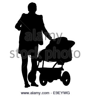 300x320 Silhouettes Walkings Mothers With Baby Strollers. Vector Illust