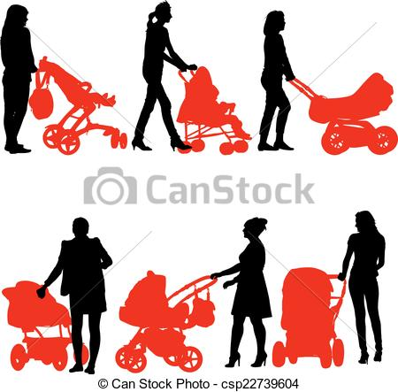 450x443 Silhouettes Walkings Mothers With Baby Strollers. Vector Vector
