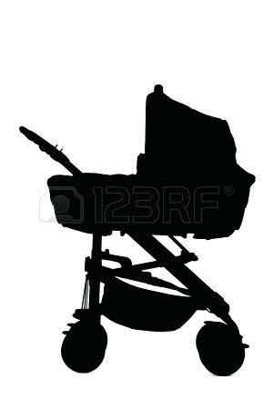 300x450 A Baby Stroller Silhouette Of A Woman With A Baby Stroller Stock