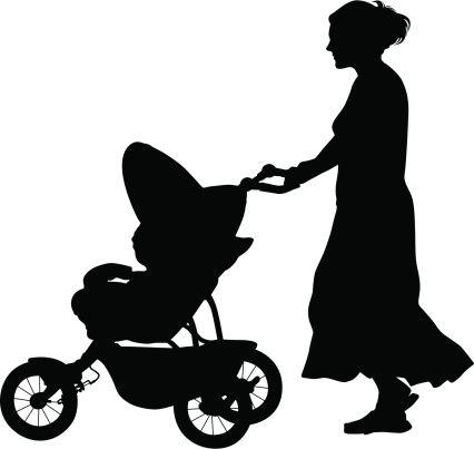 426x403 Vectores Libres De Derechos Baby Stroller Silhouettes