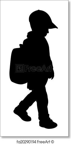 286x581 Free Art Print Of Back To School Kid Silhouette Freeart Fa20290194