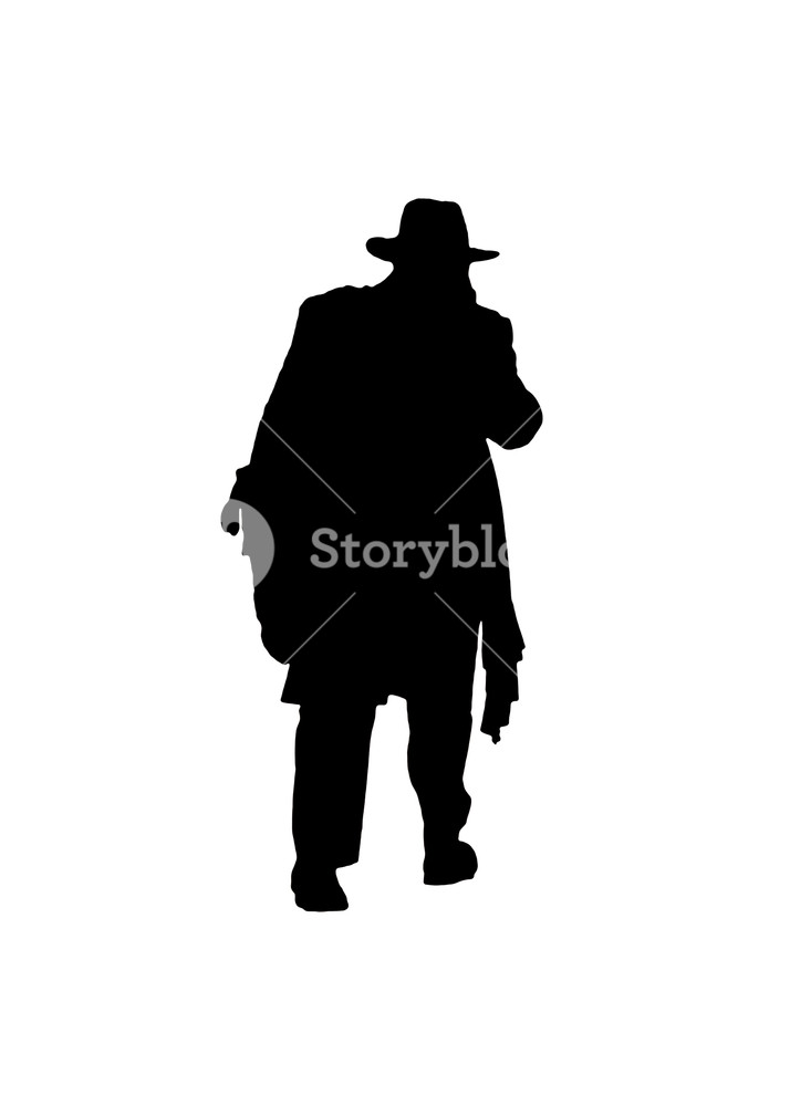 714x1000 Isolated Graphic Silhouette Back View Senior Fat Man With Hat