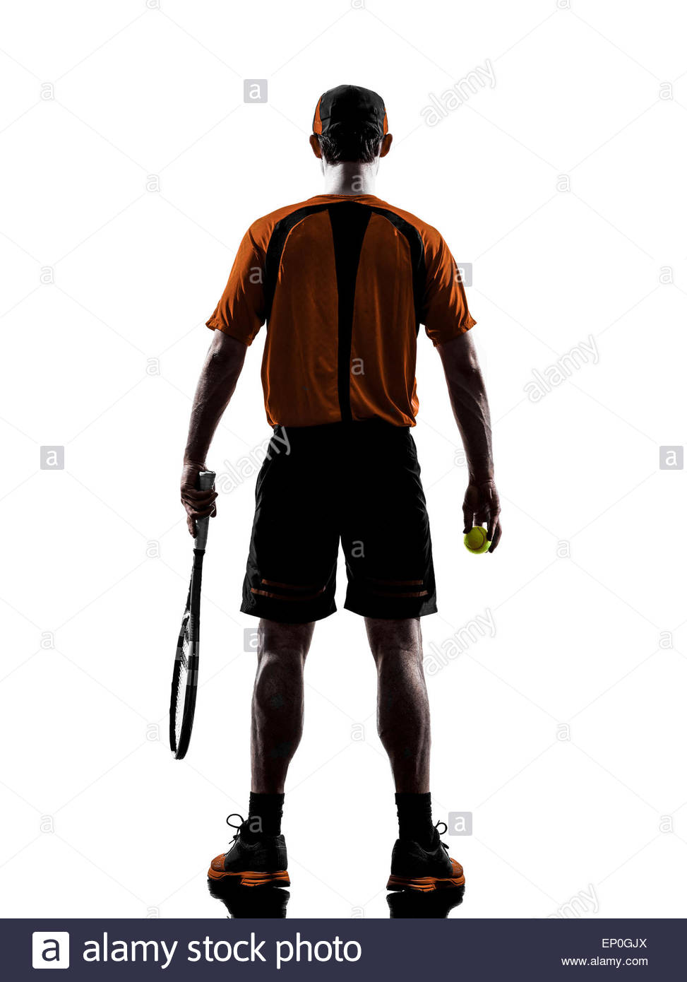 973x1390e Man Tennis Player Back Rear View In Silhouette Isolated