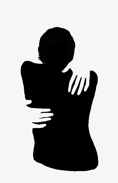 478x736 Black And White Silhouette, Embracing His Back, Monochrome