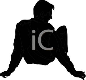 300x278 Black Silhouette Of A Man Sitting And Leaning Back On His Arms