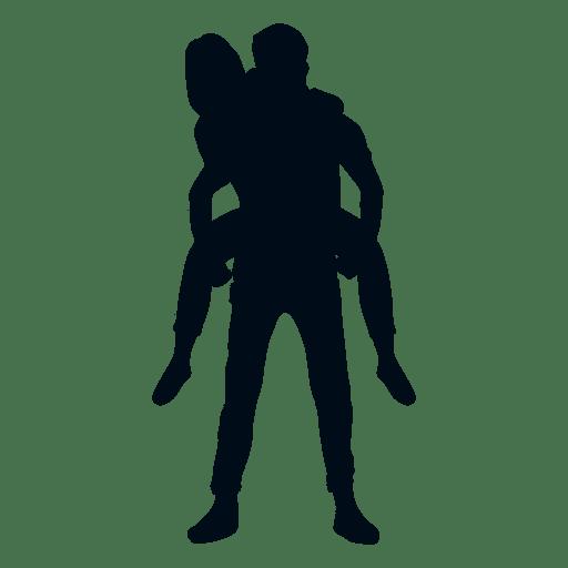 512x512 Boy Wearing Girlfriend On Back Silhouette