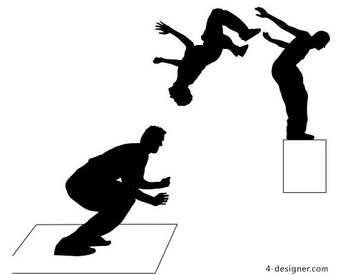 504x398 4 Designer Backflips People Silhouettes Vector Material