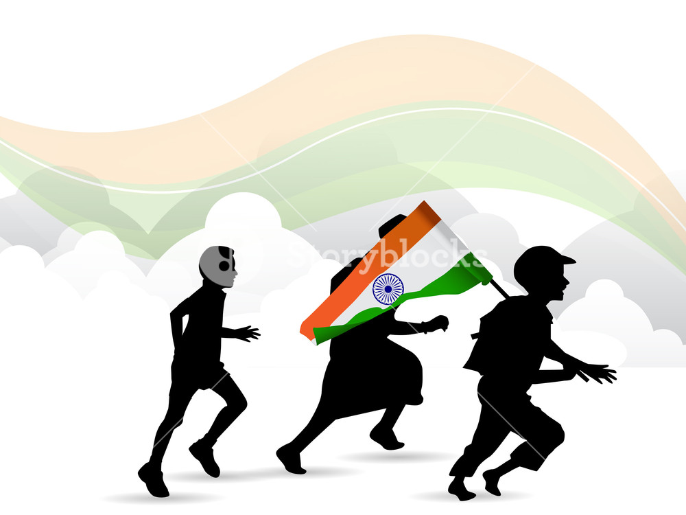 1000x750 Children Silhouette On Indian Flag Waving Background. Royalty Free