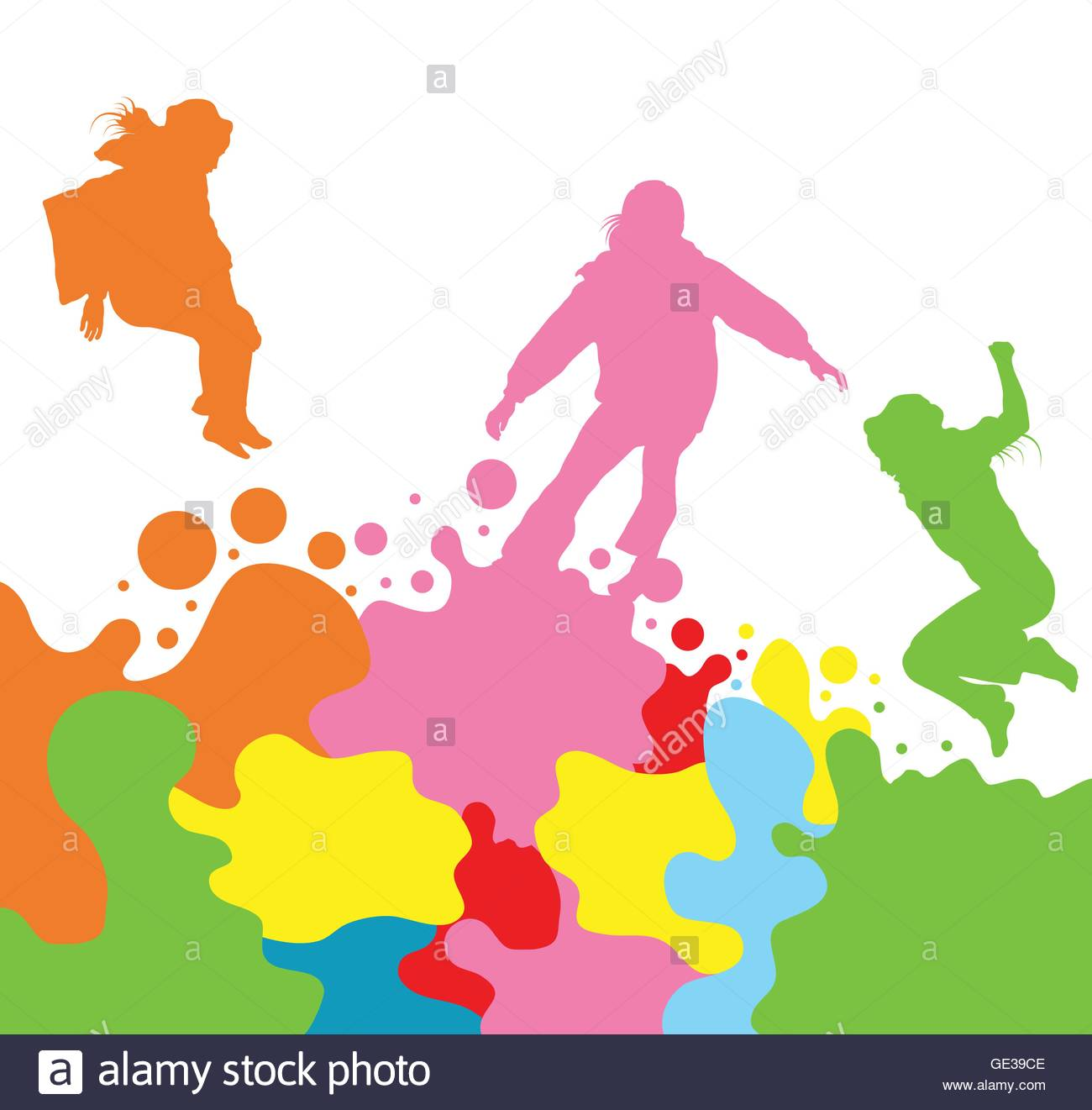 1300x1321 Girls, Kids Jumping Vector Silhouette Set Background For Poster