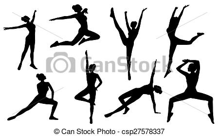 450x279 Silhouette Poses, Woman Aerobics Fitness On White Drawings