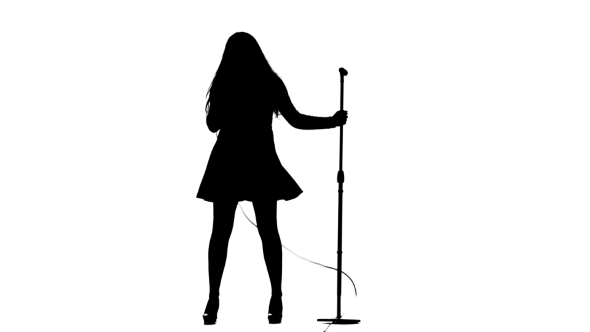 590x332 Woman Sings Incendiary Songs Into The Microphone. White Background