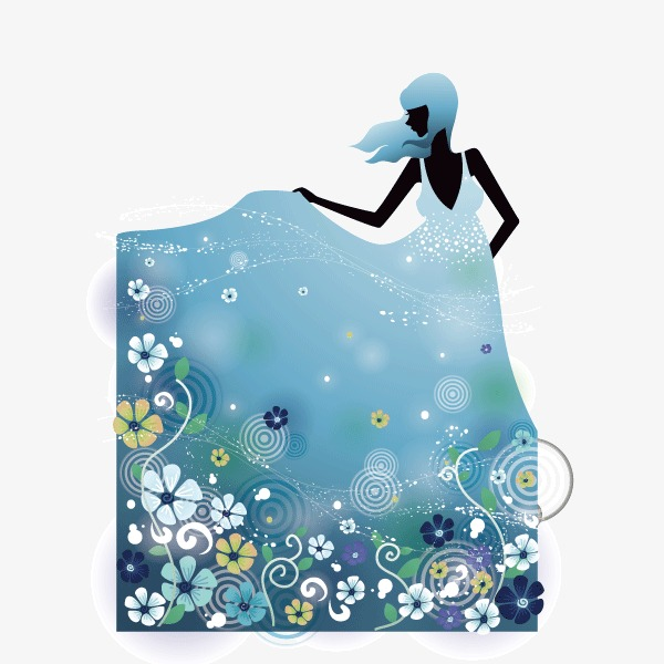 600x600 Background Decorative Pattern,female Silhouette,light Blue,flowers