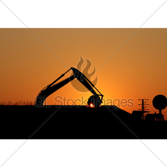 325x325 Excavator Arm Digging Dirt At Construction Site Gl Stock Images