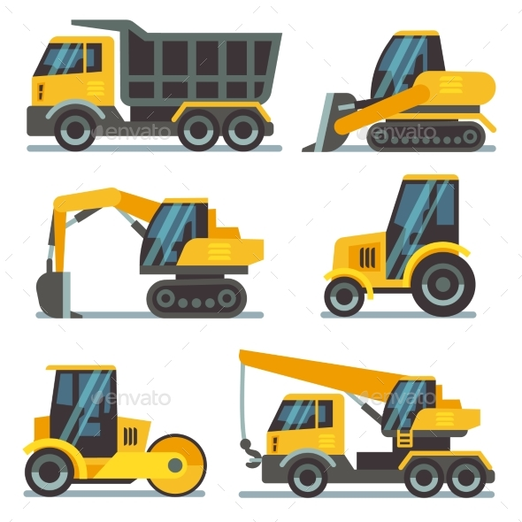 590x590 Set Of Heavy Construction Machines Icons. Vector Illustration