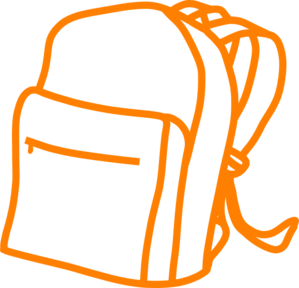 299x288 Orange Outline Backpack Clip Art