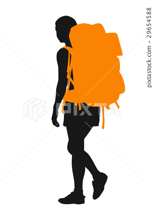 316x450 Backpacker. Vector Silhouette