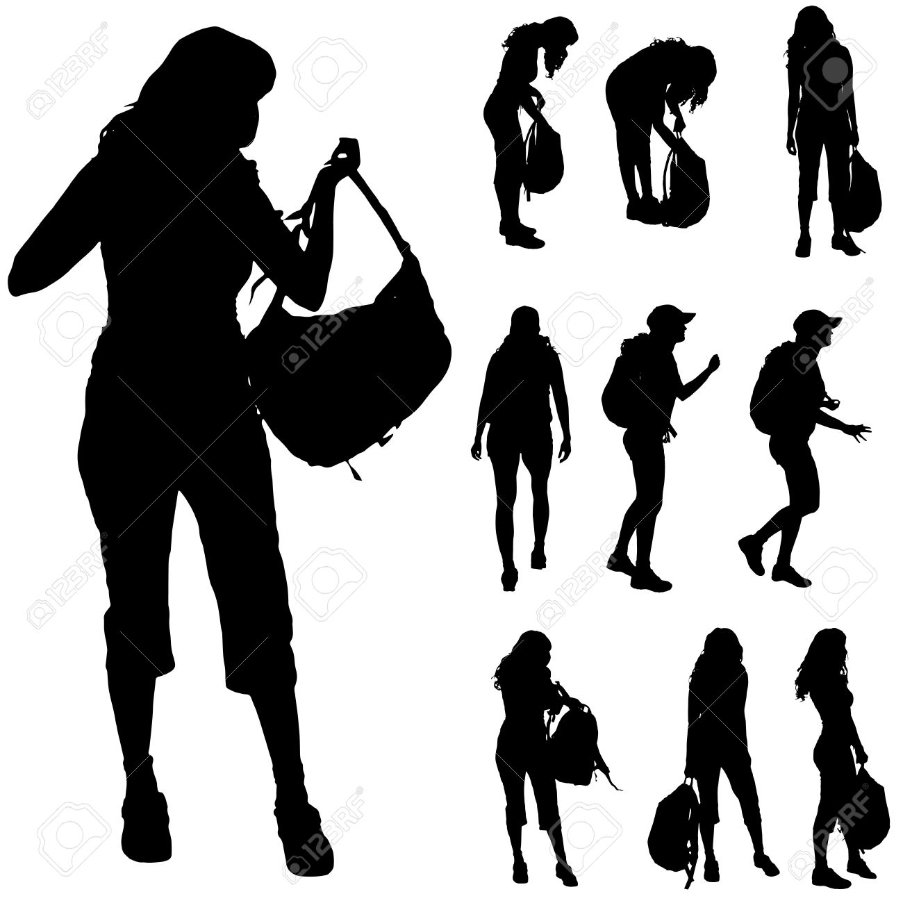 1300x1300 Female Hiker Silhouette Clipart