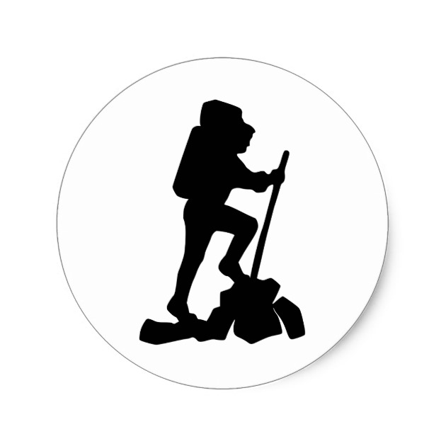 630x630 Hiker Silhouette Emblem Graphic Design Backpacker Classic Round