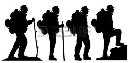450x218 Hiker Silhouettes On The White Background Photo Silhouette Art