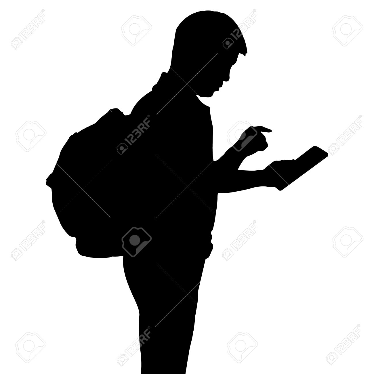 1300x1300 With Backpack Silhouette Clipart