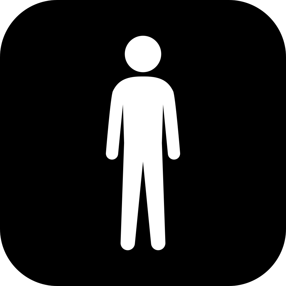 980x980 Standing Man White Silhouette In A Black Rounded Square Svg Png