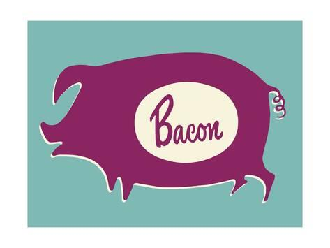 473x355 Bacon Pig Silhouette Print By Pop Ink