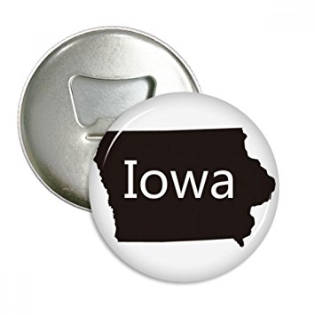 355x355 Iowa America Usa Map Silhouette Round Bottle Opener Refrigerator