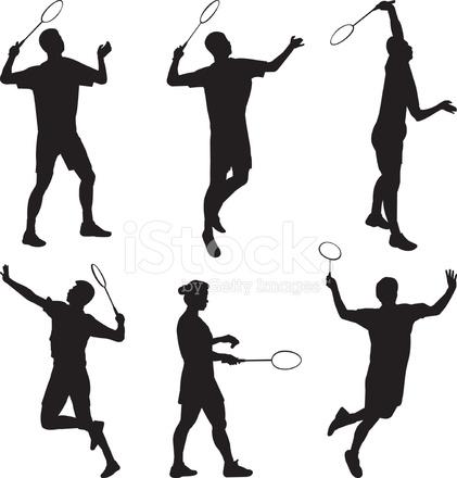 421x440 Badminton Silhouette Stock Vector