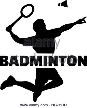 300x372 Badminton Player Silhouette With Word Stock Photo 130697483