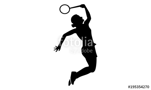 500x300 Vector Image Of The Female Badminton Silhouette Stock Image